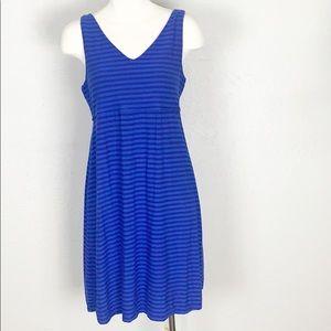 Athleta Blue Striped Santorini Blue Dress Large